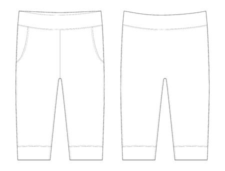 Ilustración plana de pantalones. Pantalones de dibujo de ropa de bebé. Ilustración de vector de moda infantil. Vista lateral trasera de los pantalones Ilustración de vector