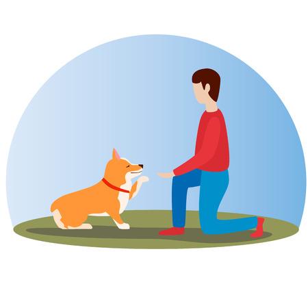 Man training his welsh corgi dog. Happy cute dog. Welsh Corgi. Puppy sits and gives paw. Flat vector illustration