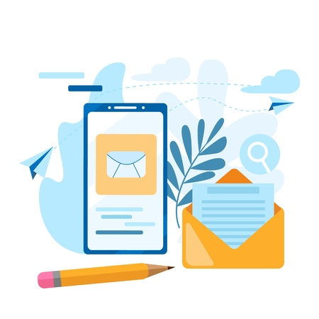 Send email. Concept of the call, address book, note book. Contact us icon. Sent email icon on the mobile phone screen. Modern flat vector illustration concept, isolated on white background.