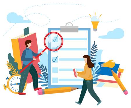 Portapapeles de lista de verificación. Cuestionario, encuesta, lista de tareas. Concepto para hacer lista, trabajo hecho, proceso creativo para página web, presentación, banner, redes sociales, tarjetas y carteles. Ilustración vectorial plana Ilustración de vector