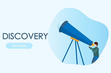 Astronomer looking through telescope. Concepts for website and applications.