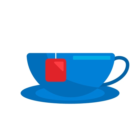 Flat Icon Cup of tea. Isolated on white background. Consept tea simple symbol. Vector illustration Ilustrace