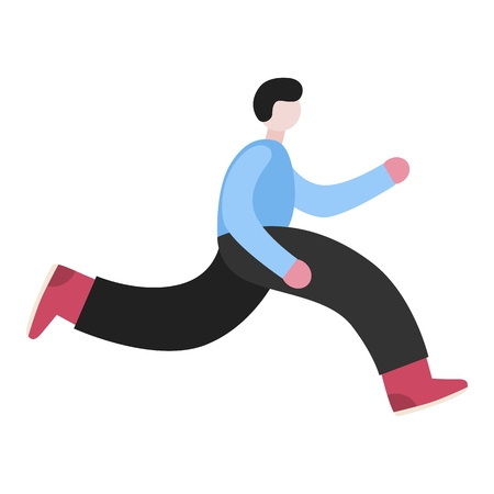 Man running character. Late person rushing in a hurry to get on time. Minimal flat style vector illustration isolated on white background