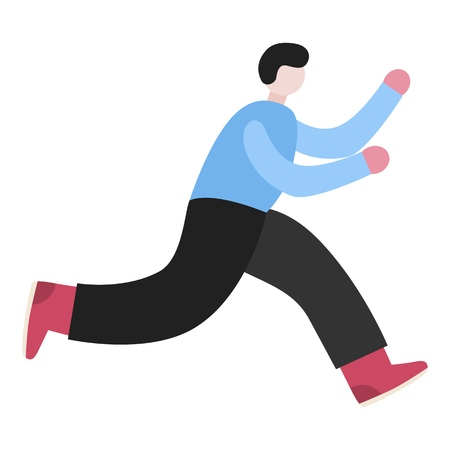 Late person rushing in a hurry to get on time. Man running character. Minimal flat style vector illustration isolated on white background