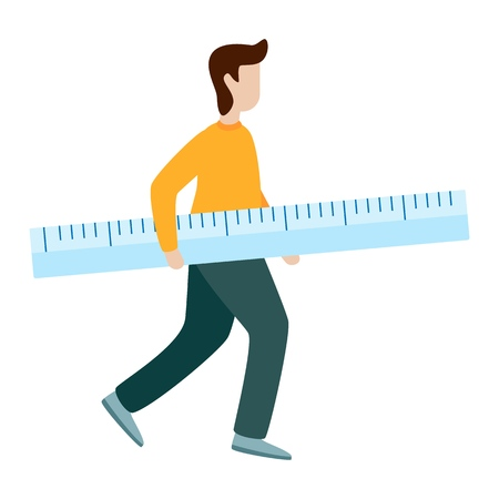 Man hold measurement ruler. Flat vector illustration on white background