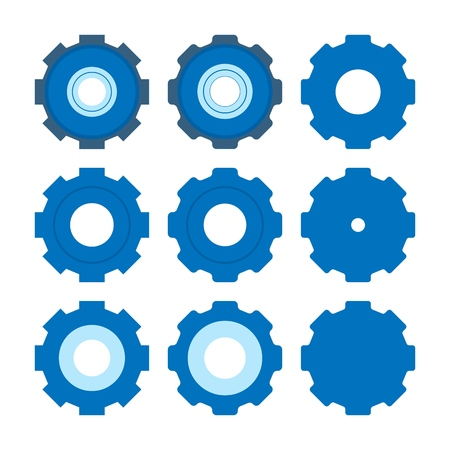 Set of Gear icon. Simple flat design. Blue pictogram. Flat vector concept illustration isolated on white background Vector Illustration