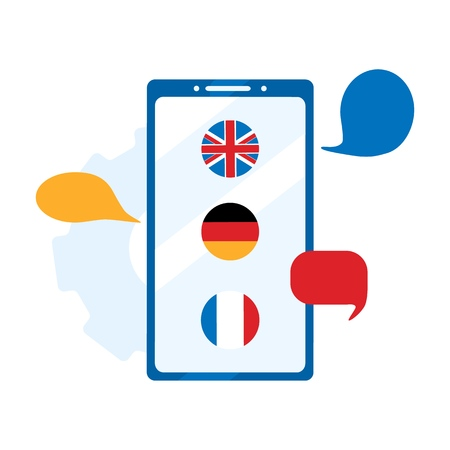 Concept online learning, choice of language courses, exam preparation, home schooling. German, English, French to choose from. Foreign language online learning. Flat vector illustration