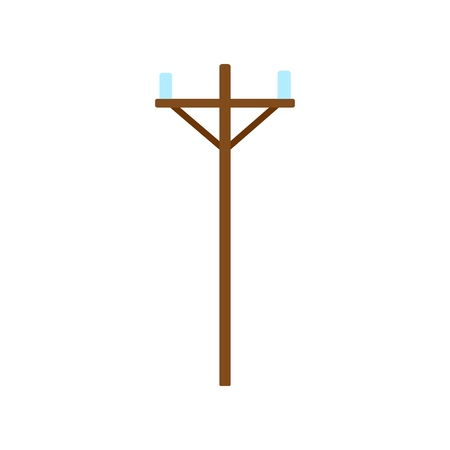 Wood power line icon. Power line flat vector design illustration isolated on white background