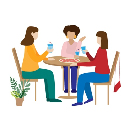 Friends drinking coffee and chatting. Women sit in a cafe and have fun. Modern flat vector design illustration