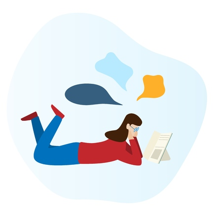 Girl is reading a book and laying on the floor. Modern flat vector design illustration