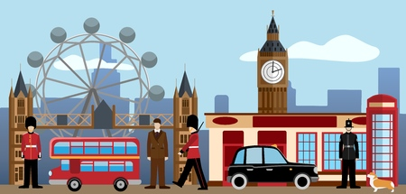 London and Great britain set. Big Ben, Tower bridge, British royal guard, policeman, dandy, red telephone box, , taxi, Pub, welsh corgi. Traditions and culture collection Flat vector illustration Vector Illustration