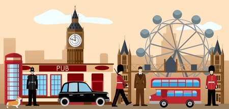 Great britain and london icon set. British royal guard, policeman, dandy, red telephone box, Big Ben, Tower bridge, taxi, Pub, welsh corgi. Traditions and culture collection. Flat vector illustration