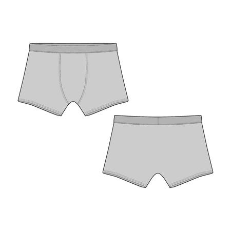 Technical sketch boxer shorts. Vector illustration of men s underpants. man underwear. Ilustrace