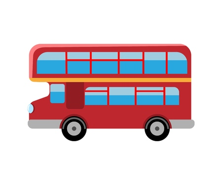 London red bus. Double Decker retro bus. Flat vector illustration isolated on white background