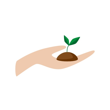 Hand holding plant. Growth concept. Flat vector illustration isolated on white background.