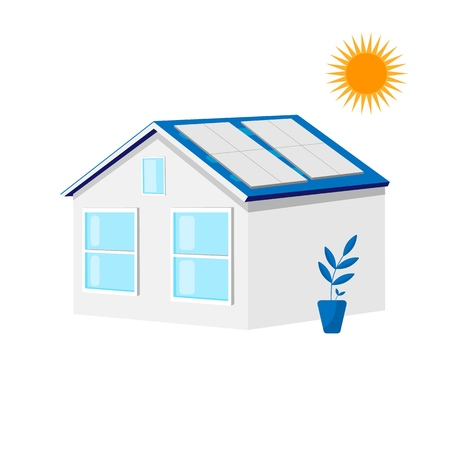 House with solar roof panels. Green energy, ecology concept. Energy design. Flat vector illustration isolated on white background. Çizim