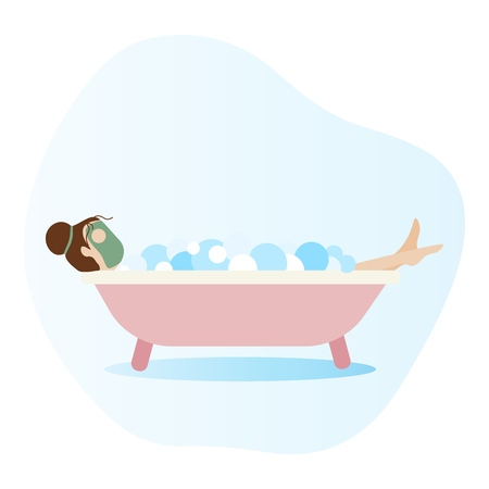 Woman lying in bathtub full of soap foam. Woman taking a bath. Relaxing girl in bathroom. Flat vector design illustration