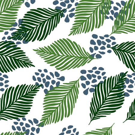 Abstract exotic jungle plants texture vector wallpaper. Modern contemporary art style vector illustration. Floral collage seamless pattern.