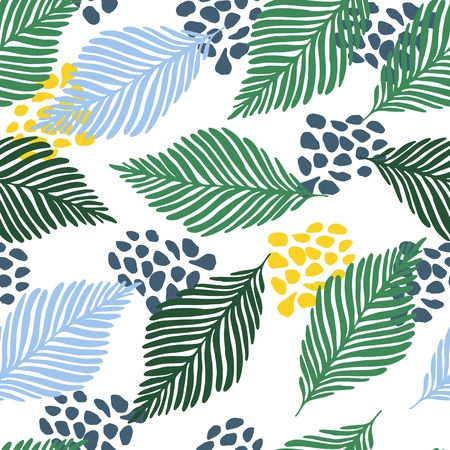 Abstract modern contemporary art style vector illustration. Floral collage seamless pattern. Exotic jungle plants texture vector wallpaper