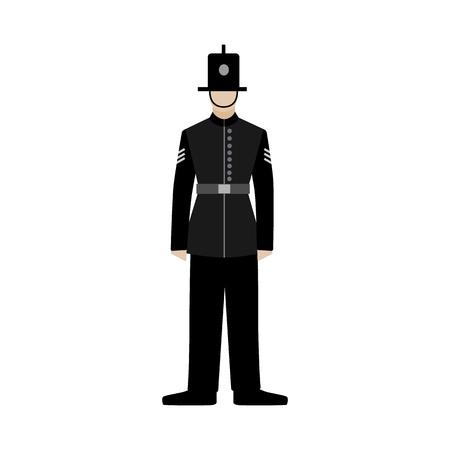 British police officers. uk policeman. black uniform. Flat vector isolated illustration on white background