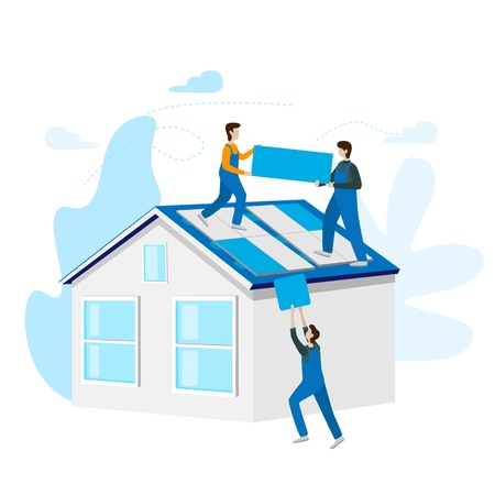 Solar power concept installed. Solar cell system home. Energy panels to produce electricity. Flat vector illustration isolated