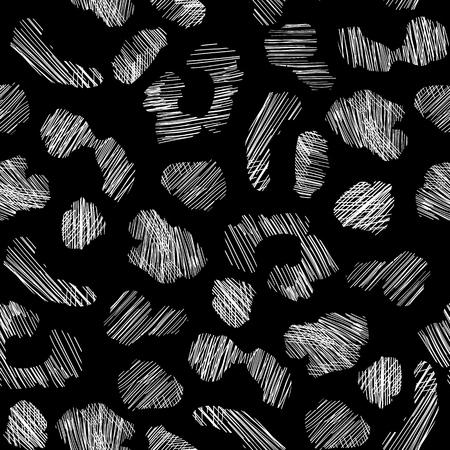 Grunge leopard skin seamless pattern. Abstract animal fur wallpaper.
