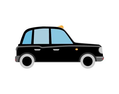 Black London taxi cab. Retro car. Flat vector isolated illustration