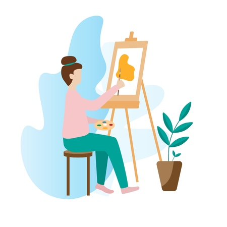 Artist woman painting with palette, brush and easel sitting on a chair. Art studio interior. Creative workshop room. Modern flat vector illustration isolated on white background Archivio Fotografico - 124714686