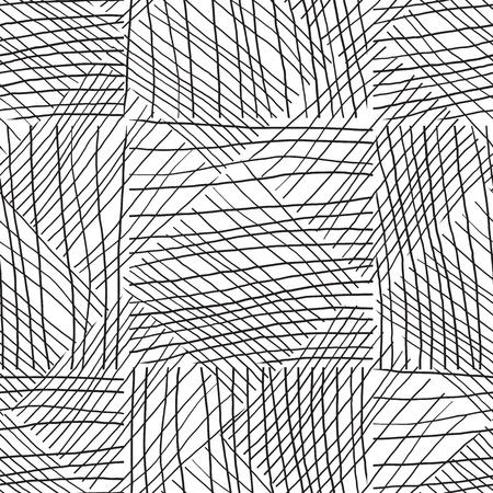 Schwarze und weiße nahtlose Muster handgezeichnete Textur. Vektorgrafik