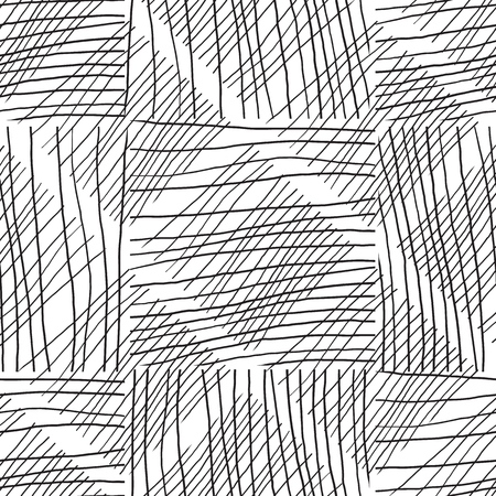 Abstract background withc handmade lines. Black and white Ilustración de vector