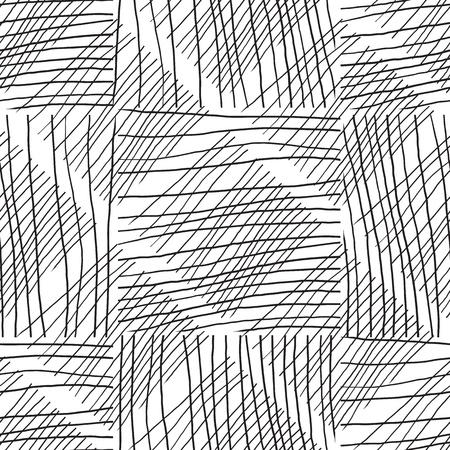 Black and white seamless pattern hand drawn texture. Ilustración de vector