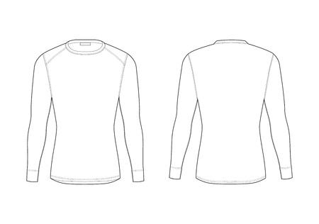 Intimo termico invernale da uomo. Modelli vuoti di t-shirt a maniche lunghe. Abbigliamento da rash guard maschile isolato. Viste anteriore e posteriore. Esempio di illustrazione tecnica.