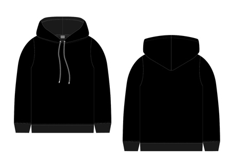 Technical sketch for men black hoodie. Mockup template hoody. Front and back view. Technical drawing kids clothes. Sportswear, casual urban style. Isolated object of fashion stylish wear