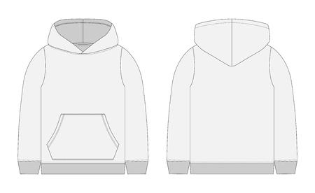 Technische schets voor heren grijze hoodie. Mockup sjabloon hoody. Voor- en achteraanzicht. Technische tekening kinderkleding. Sportkleding, casual stedelijke stijl. Geïsoleerd object van mode stijlvolle slijtage