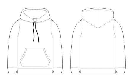 Fashion technical sketch for men hoodie. Mockup template hoody. Front and back view. Technical drawing kids clothes. Sportswear, casual urban style. Isolated object of stylish wear  イラスト・ベクター素材