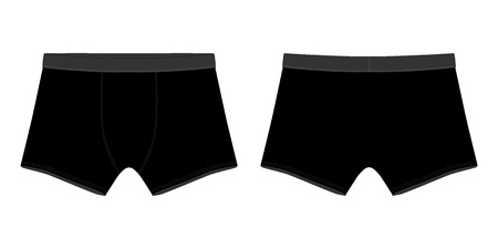 Technical sketch black boxer shorts man underwear. Vector illustration of men underpants. Illustration