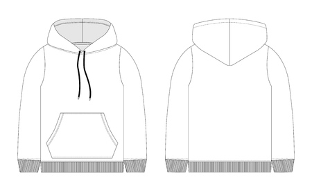 Men hoodie technical sketch. Mockup template hoody. Front and back view. Technical drawing kids clothes. Sportswear, casual urban style. Isolated object of stylish wear