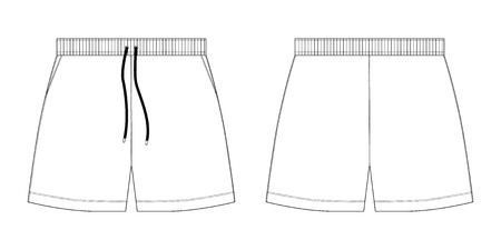 Technische Skizze Sport Shorts Hosen Design-Vorlage. Mode-Vektor-Illustration