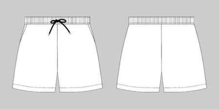 Modello di disegno di pantaloni sportivi pantaloncini sportivi schizzo tecnico. Illustrazione vettoriale di moda su sfondo grigio Vettoriali