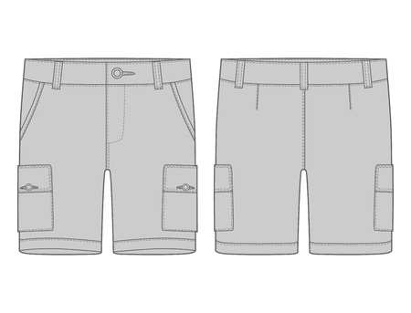 Technical sketch grey cargo shorts pants design template. Cargo Pants. Fashion vector illustration on white background