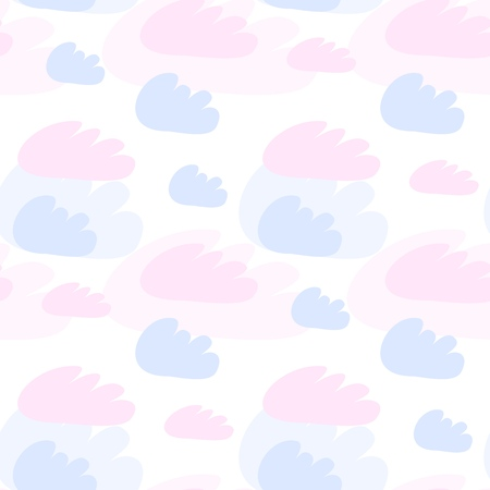 Pink and blue clouds seamless pattern. Vector design baby illustration