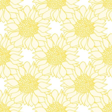 Sonnenblumen blüht nahtloses Muster in gelben und weißen Farben. Vektor-Illustration