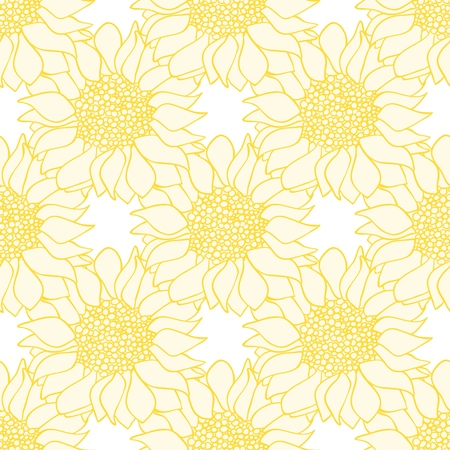 Sunflowers flowers seamless pattern in yellow and white colors. Vector illustration
