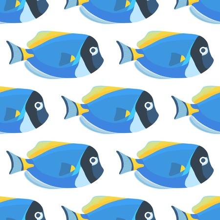 Powder blue tang fish seamless pattern. Acanthurus surgeon fish wallpaper on blue background Ilustração