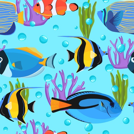 Fish underwater with bubbles. Kids background. Reef Undersea seamless pattern. Pattern of fish for textile fabric or book covers, wallpapers, design, graphic art, wrapping Vectores