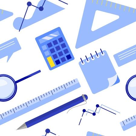 Flat lay business seamless pattern with notepad, calculator, ruler, magnifier glass, ballpoint pen, chart, graph. Flat vector illustration