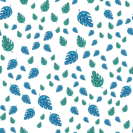 Ttropical monstera leaves seamless repeat pattern . Exotic plant Vector illustration. Summer design for fabric, textile print, wrapping paper, children textile.