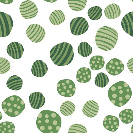 Hand drawn green stones wallpaper. Pebble seamless pattern. Abstract geometric dotted texture background. Vector illustration