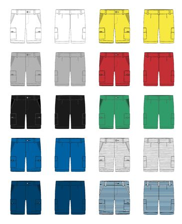 Set of technical sketch cargo shorts pants design template. Cargo Pants. White, gray, black, blue, yellow, red, green colors. Melange and stripes fabric. Fashion vector illustration on grey background Vetores