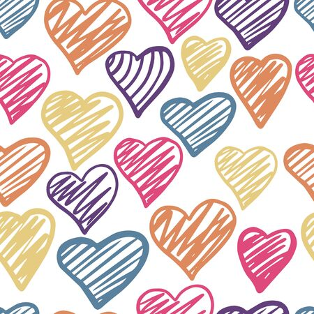Funny colored hearts seamless pattern. 14 february wallpaper.